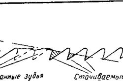 Схема заточки соседних зубьев дня использования ножовочного полотна с выломанными зубьями