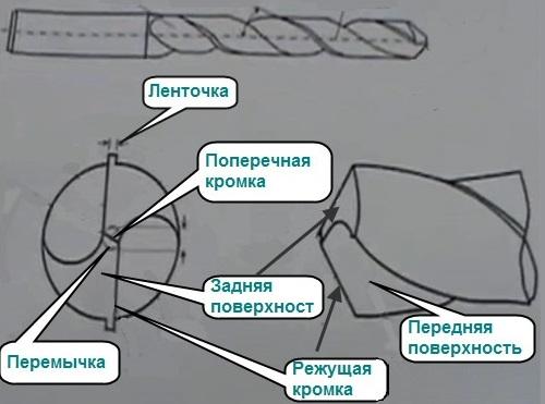 Основные части сверла