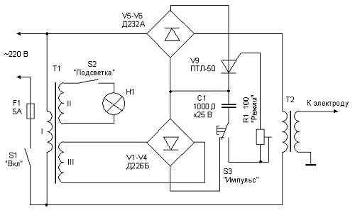 Электрическая схема точечной микросварки