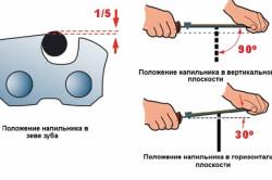 Положение напильника при заточке цепи бензопилы