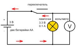 Схема подключения вольтметра к цепи