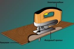 Схема фигурного пропила ламината при помощи электролобзика