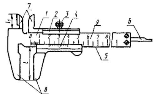 Двухсторонний штангенциркуль с глубиномером