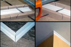 Этапы монтажа потолочного плинтуса на угол