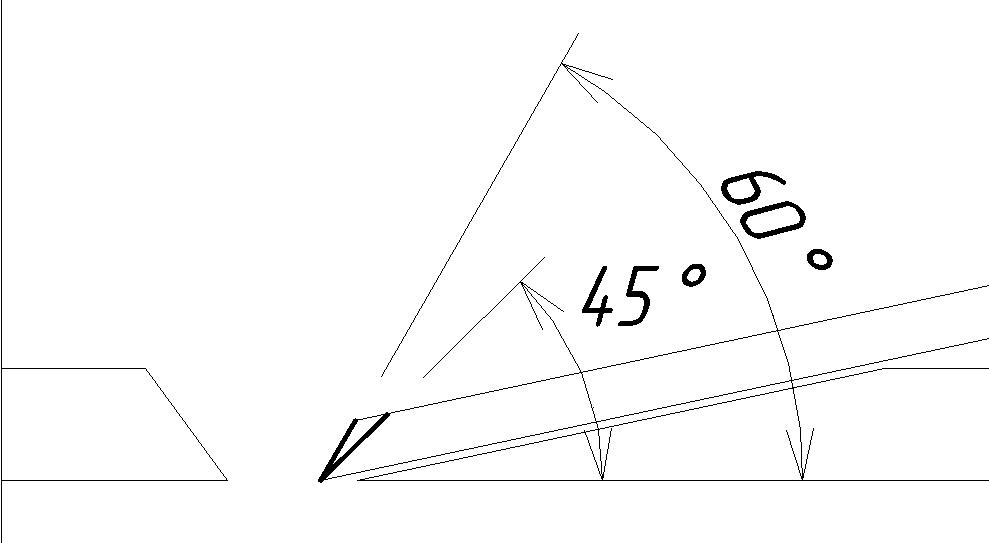 Схема угла заточки рубанка