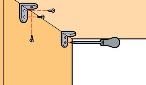 Схема установки крепежей и крепления полок