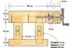 Схема самодельного верстака (вид сбоку)