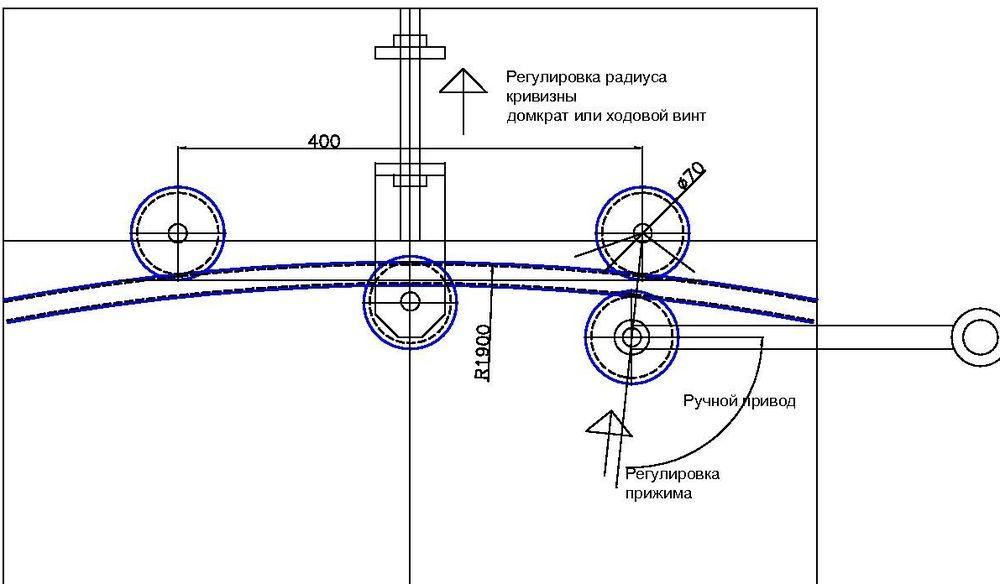 Схема трубогиба с обкаткой