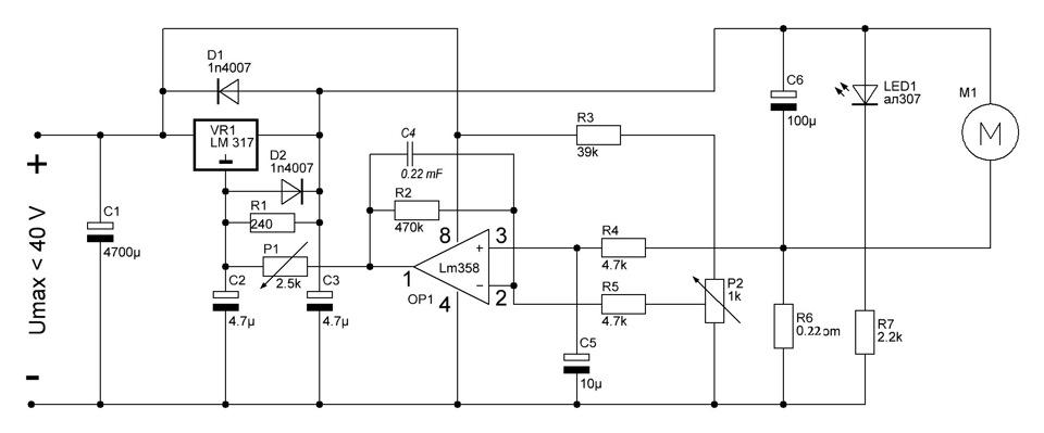 Схема регулятора оборотов для