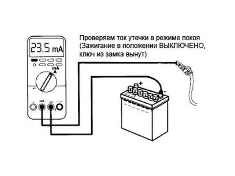Схема проверки аккумулятора
