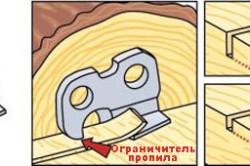 Схема строгания древесины зубом бензопилы
