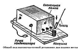 Схема высокочастотной установки для плавки металлов