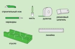 Инструменты для работы с потолочным плинтусом