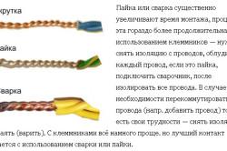 Вид провода при пайке, сварке, скрутке