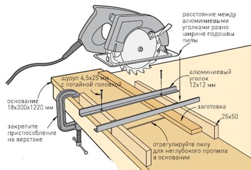 Схема монтажа стола для
