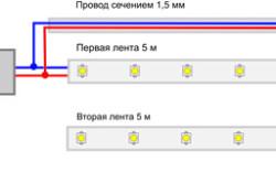 Схема подключения двух светодиодных лент в одному блоку питания