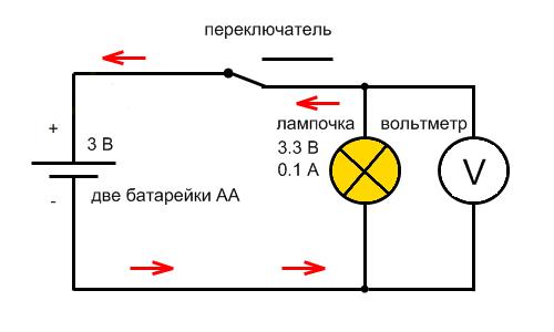 Схема подключения вольтметра к