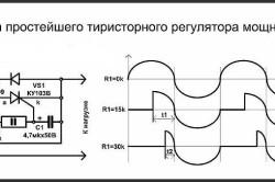 Схема простейшего тиристорного регулятора мощности