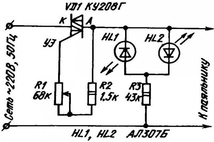 Схема регулятора температуры с