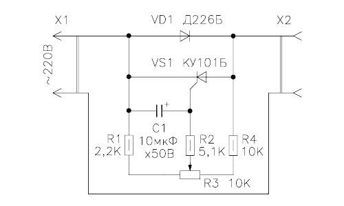 Схема регулятора температуры, собранная на тиристоре КУ 101Б