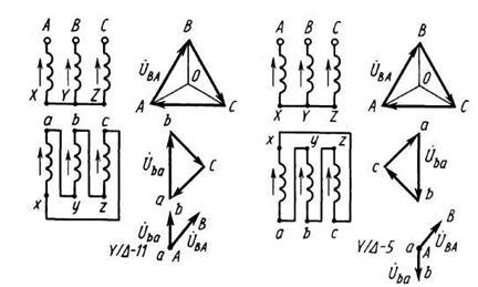 схема соединения обмоток трансформатора треугольник треугольник