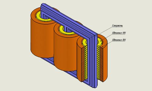 Схема трансформатора с двумя обмотками