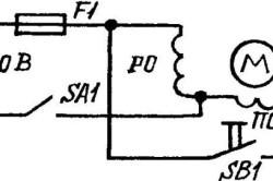 Принципиальная электрическая схема запуска электродвигателя настольного электролобзика