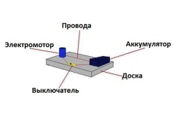 Схема шлифовальной машинки с использованием аккумулятора